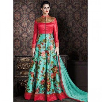 Poly Silk Red & Green Floral Print Semi Stitched Long Anarkali Suit - C272