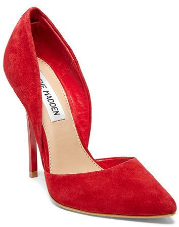$89, Red Suede Pumps: Steve Madden Varcityy. Sold by Steve Madden. Click for more info: http://lookastic.com/women/shop_items/158215/redirect