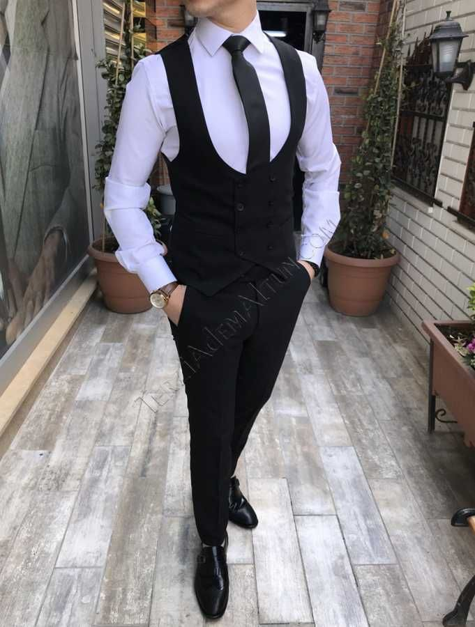 48c127e504067 İtalyan stil erkek ceket yelek pantolon desensiz siyah takım elbise T2440