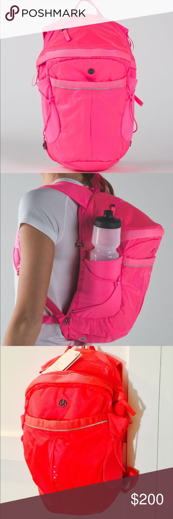 *RARE* BRAND NEW!! Lululemon NEON PINK Backpack Super cute! Brand new! Lululemon Run All Day Backpack. Color is more like stock photos I posted. Any questions... Just ask! 😊 lululemon athletica Bags Backpacks