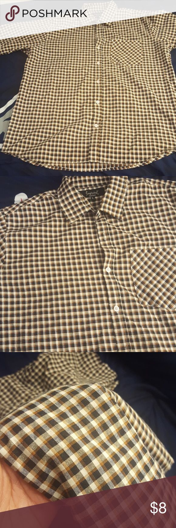Men's plaid shirt Dark rustic brown ans blue shirt fourcast  Shirts Casual Button Down Shirts