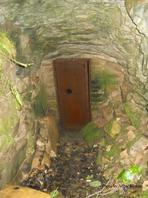 The main entrance to Floyd Collins Crystal Cave, which is now closed off to the public. It has a steel door secure with a lock. There is a hole in the door which you can feel the cold air through. Pretty cool! ~Floyd Collins~ ~Mammoth Cave KY~ ~Floyd Collins Crystal Cave~