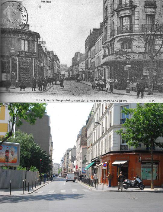 Hier et aujourd'hui / La rue de Bagnolet vue de la rue des Pyrénées | Paris Est Villages