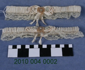Pair Of Satin And Lace Wedding Garters 1930