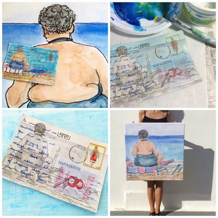 Work-in-progress shots of the creation of an altered postcard - part of my#100postcardsfromgreece series. The lady in question is called 'Beach Babe' and she's also available in a larger form as a ready-to-hang canvas giclee print.