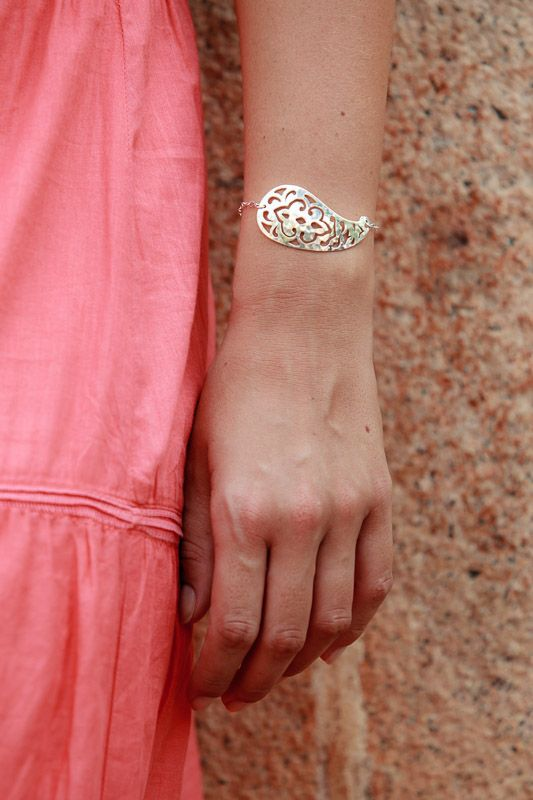 Gorgeous new Paisely Cuff Bracelet in  silver from Murkani.