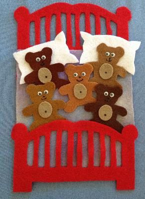 Five in the Bed  Pattern + 13 more  Classic Felt Book Songs - 14 Felt Board Patterns PDF Download