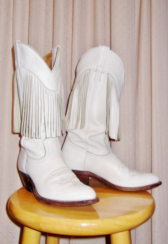 Vintage Women's White Cowboy Boots with Fringe   eBay
