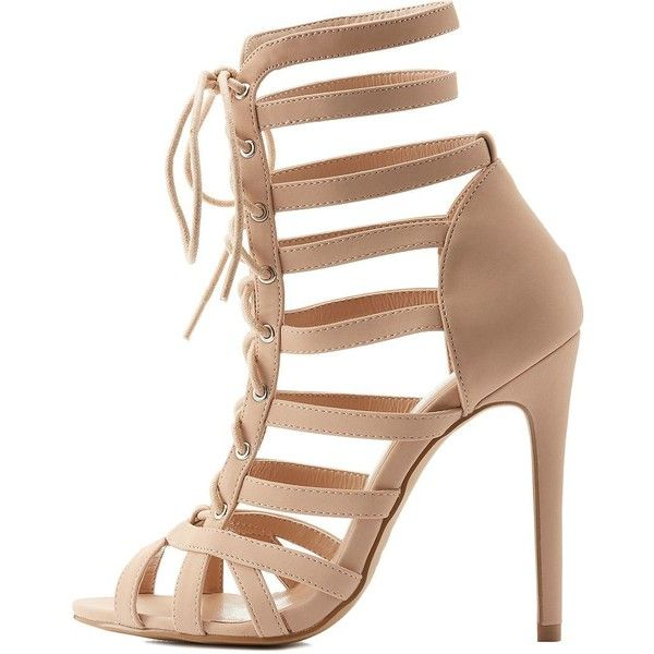 Charlotte Russe Strappy Lace-Up Dress Sandals (19.445 CRC) ❤ liked on Polyvore featuring shoes, sandals, nude, heeled sandals, sexy stilettos, strappy heel sandals, nude shoes and caged heel sandals