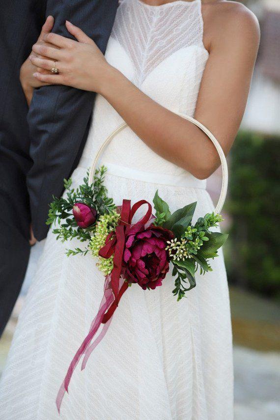 Modern Wedding Hoop Wreath Bridesmaid Hoop Bouquet Boho