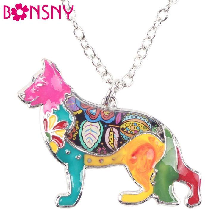 Bonsny maxi verklaring metalen legering emaille sieraden duitse herdershond choker ketting kraag hanger 2016 fashion nieuwe voor vrouwen