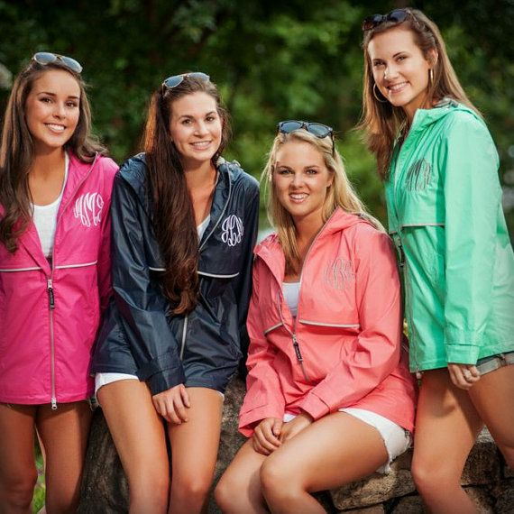Just because its raining doesnt mean you cant look fabulous! These preppy Charles River New Englander Rain Jackets make the perfect statement even in the worst weather. Add a monogram, name, or Greek letters for the perfect personalized touch!  Product Details: •Wind & waterproof New Englander Polyurethane bonded to a woven backing to provide additional fabric strength. •Lined with grey mesh for air-flow circulation and taffeta nylon in sleeves for easy on/off. •Hood & open hem with…