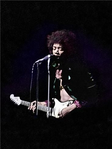 """Jimi Hendrix """"THE IRONCROSS"""" 1967  © EDDIE KRAMER  """"Jimi played the Saville Theatre in 1967 and opened the show with 'Sgt.Pepper.' The Beatles were in the audience and were blown away. This rare photo showing the Iron Cross was recently discovered. This is a special edition and is printed on Silver Textured Paper. Co-Design and Colorization by AJ Newton."""