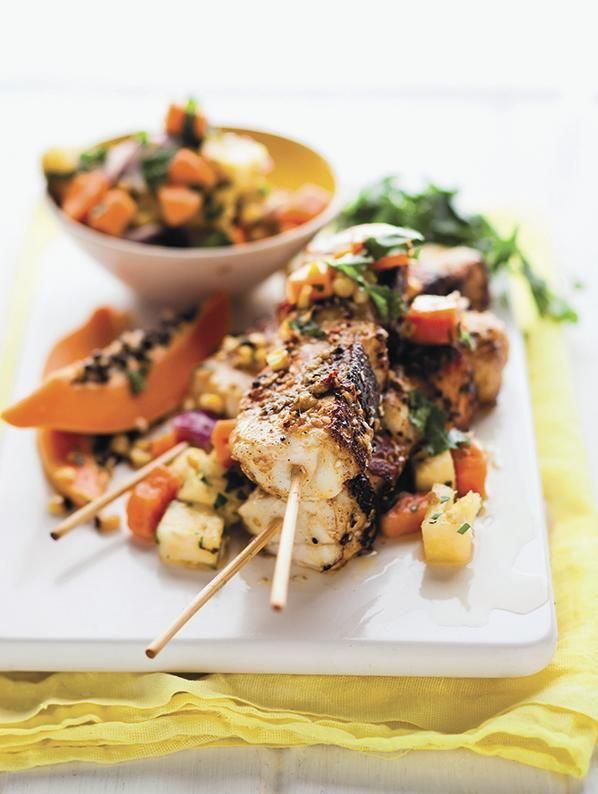 Marsala fish kebabs and salsa #Braai