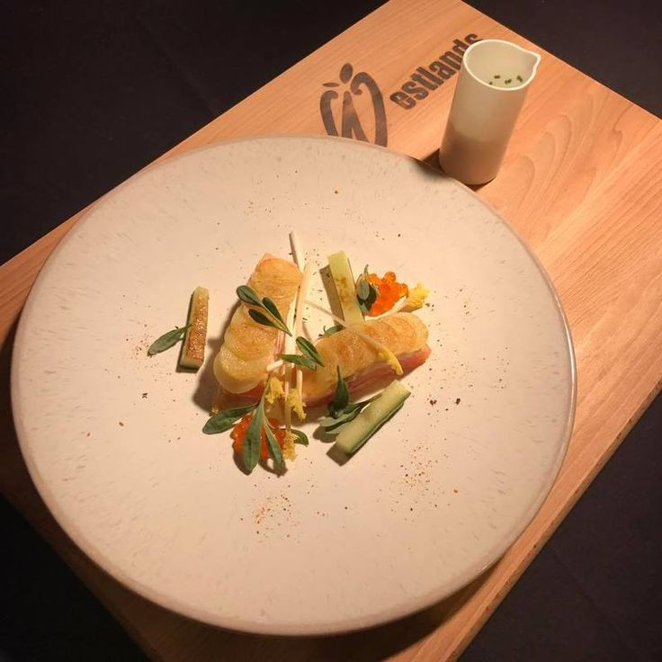 Lemon and Lime cured Salmon in a warm Potato Crust, Oyster Cream and Charred Cucumber recipe by professional chef Geoffrey Smeddle