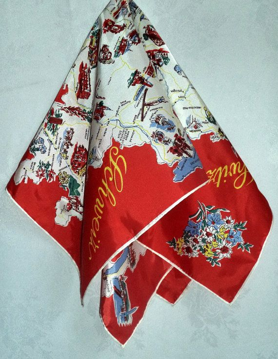 60s Switzerland Souvenir Scarf Country Cities by MushkaVintage3