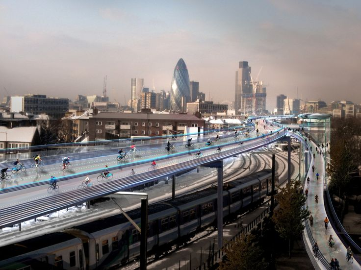 Londra entra in pista. Ecco la strada ciclabile più alta del mondo. Read more on our blog: http://bit.ly/29nl6kU #SkyCicle #VerdeElettrico #Londra #Torino #pistaciclabile #green #ExteriorArchitecture #Foster&Partners #SpaceSyntax #sostenibilità #fotovoltaico