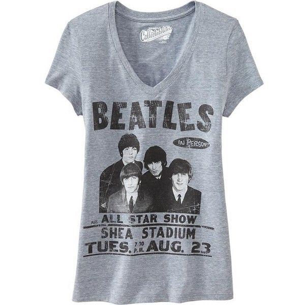 Old Navy Womens The Beatles V Neck Tees - Navy blue ($9.97) ❤ liked on Polyvore featuring tops, t-shirts, shirts, blusas, women, short sleeve t shirts, fitted shirt, old navy t shirts, fitted t shirts and short sleeve shirts