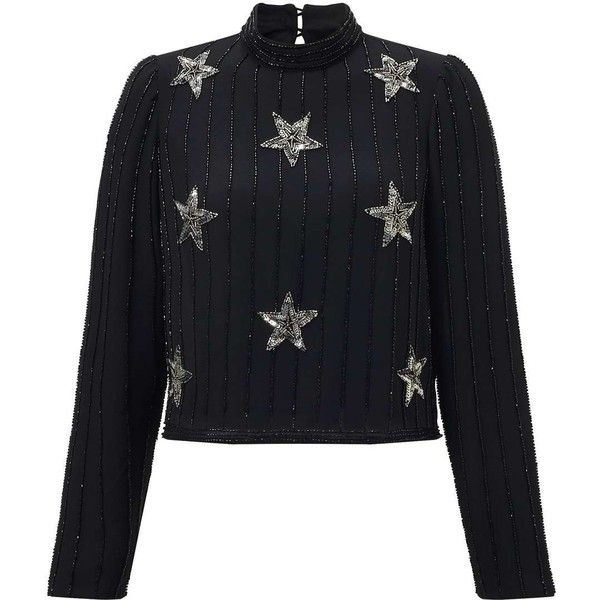 Miss Selfridge Black Star Embellished Long Sleeve Blouse ($95) ❤ liked on Polyvore featuring tops, blouses, black, star print blouse, embellished top, miss selfridge, star print top and star blouse