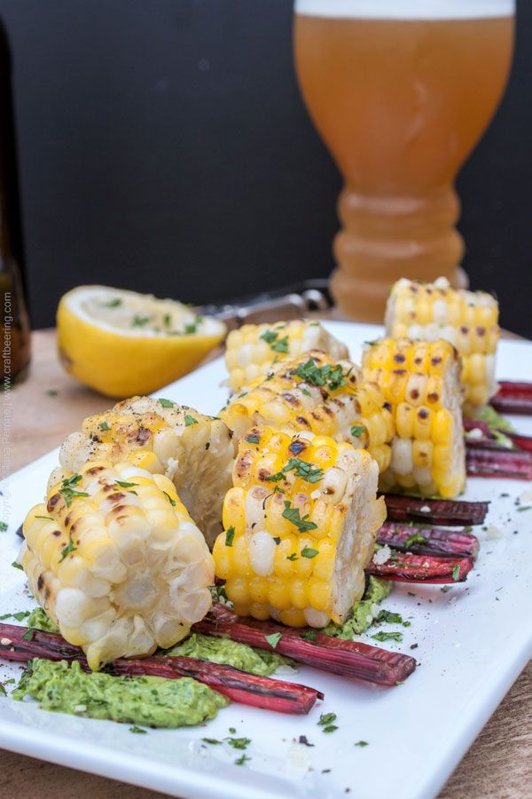 Grilled Swiss chard and corn bites with parsley pesto. Great beer snack, especially if paired with IPA