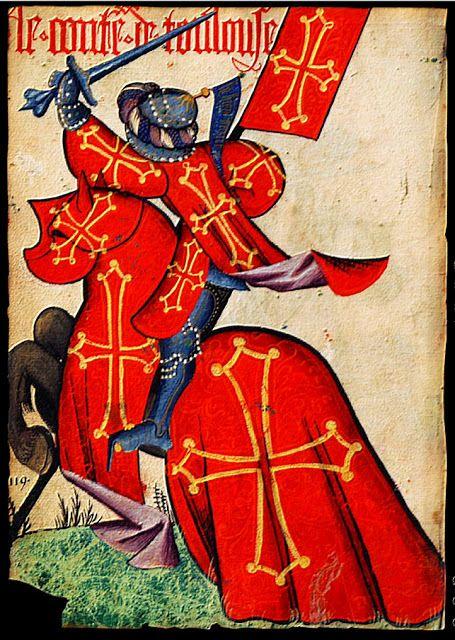 """le comte de Toulouse* - folio N° 53 vo """"de gueules à la croix cléchée, vidée et pommetée d'or"""" casque à la sarrasine avec turban de bandes bleues, pourpres et blanches en alternance, sommé d'une pointe d'or et d'un pennon d'azur portant une inscription (illisible): """" sy bien vaint"""" - bannière aux armes étoffes à doublure de pourpre - cheval bai brun inscription du haut en gothique : """"le_conte_de_toulouse"""" le Grand Armorial Équestre de la Toison d'Or - 3e épisode"""