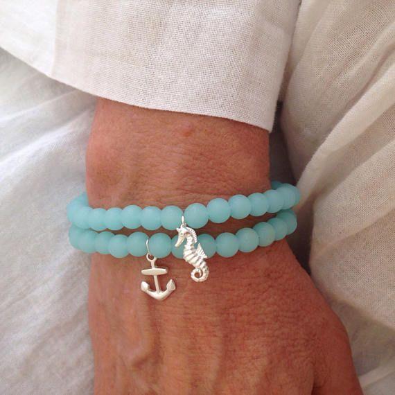 bracelet nautique bijoux en verre de mer culture bracelet
