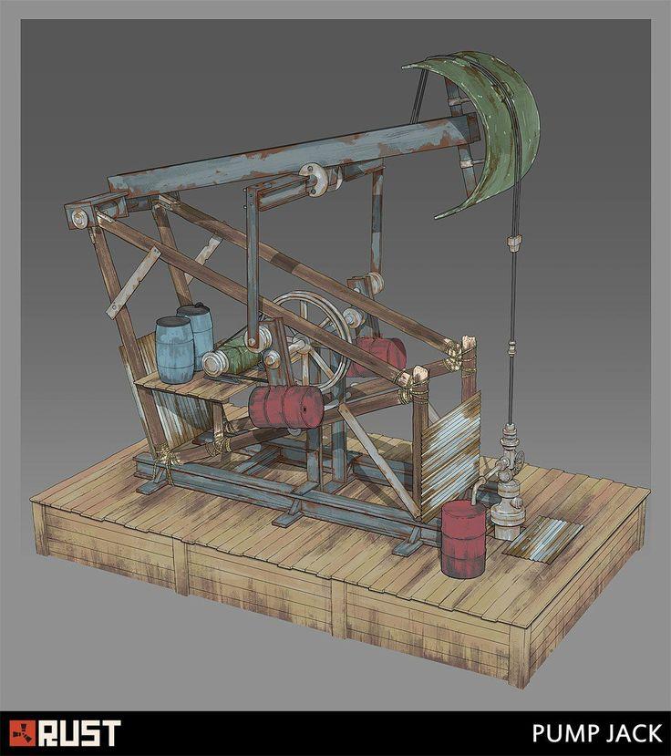 Rust - Pump Jack, Howard Schechtman on ArtStation at https://www.artstation.com/artwork/rust-pump-jack