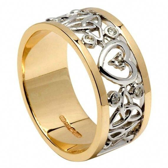 Diamond Encrusted Heart Trinity Unisex Wedding Band Es Rings From Ireland Weddingringsceltic Wedding Rings Vintage Engagement Rings Celtic Wedding Rings