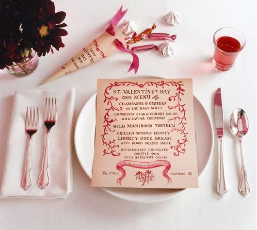 printed Valentines menu