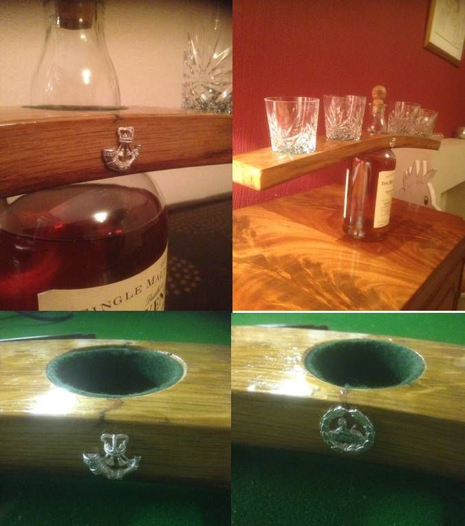 """Unique and bespoke whisky holder.  """"This whisky holder is made from a whisky barrel stave, with individually cast solid silver badges and hand-etched glasses A whisky holder like this would cost in the region of £400.00, and the price can fluctuate depending on your design. #whisky #rifles #whiskylover"""""""