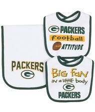 NFL Green Bay Packers 2 Dribbler Bibs & 1 Burp Cloth Set One Size White NWT Baby