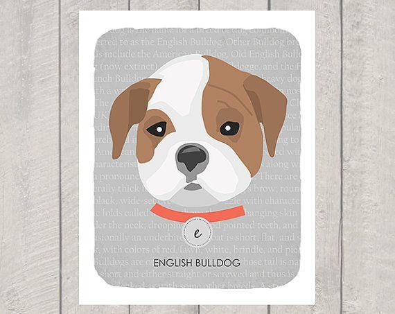 English Bulldog  Dog Nursery Art Print  Custom by HappyTailPrints, $11.00