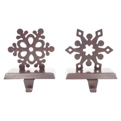 2 piece snowflake stocking holder set bronze find. Black Bedroom Furniture Sets. Home Design Ideas