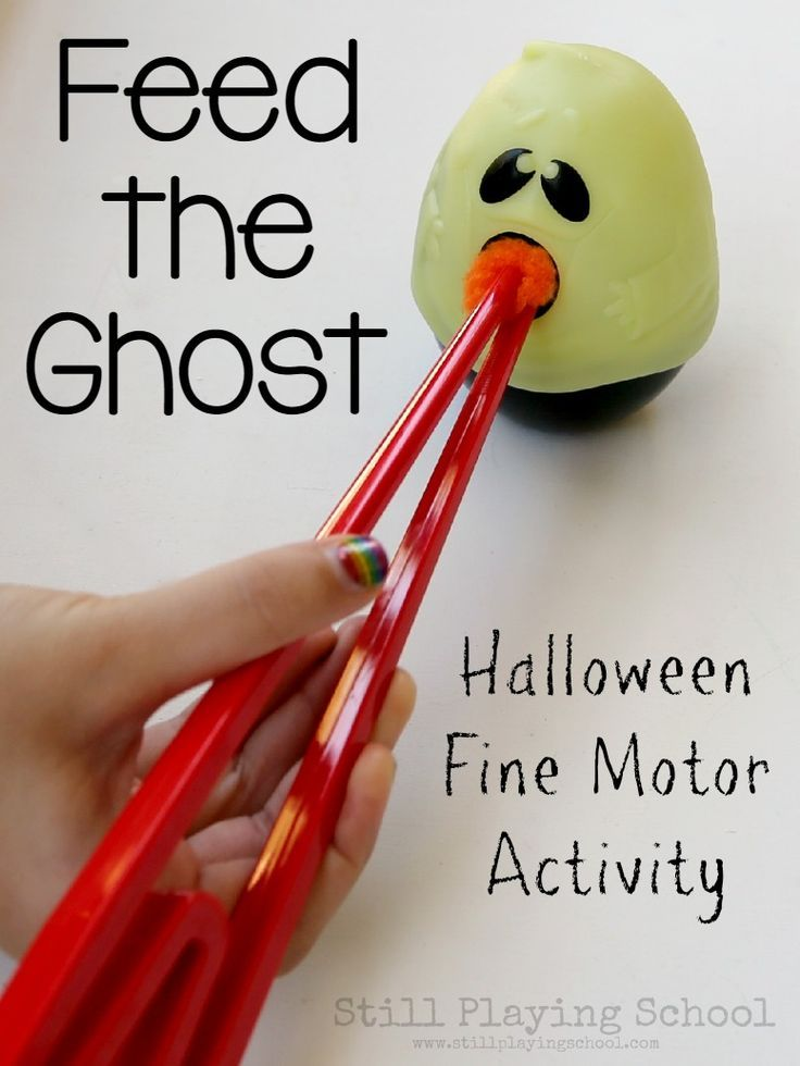 Feed the Ghost Fine Motor Halloween Activity for Kids  It's a perfect game for a classroom Halloween party!