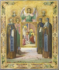 Detailed view: SS021. Selected Saints with image of Presentation of the Virgin- exhibited at the Temple Gallery, specialists in Russian icons