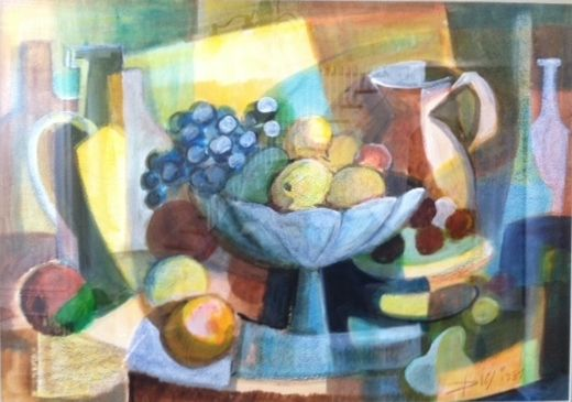 """#DiegoVoci™ A mixed media still life of great texture and depth. The work was created in PA Chris Voci's childhoodhome. My parents were seated with my Great Uncle DIEGO drinking coffee and he said to my Father,  """"You know, there is no food for us here, not even a bowl of fruit."""" So, I will make you a picture. With that statement, Diego asked to be taken to an art store to get supplies ...for more: http://www.artifactcollectors.com/diego-voci-painting-of-the-week-5154118/Page7.html#186"""