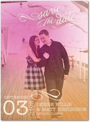 Signature White Photo Save the Date Cards Hazy Love Note - Front : Dusty Rose
