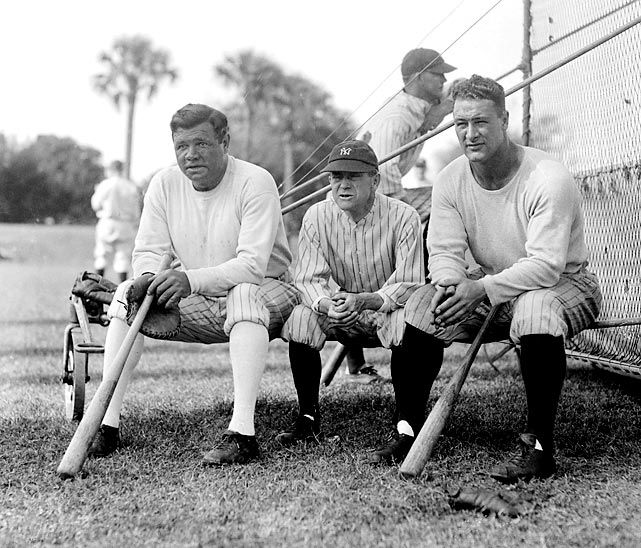 Babe Ruth, Miller Huggins and Lou Gehrig take a break during Yankees Spring Training in St. Petersburg, Fla. in 1929.
