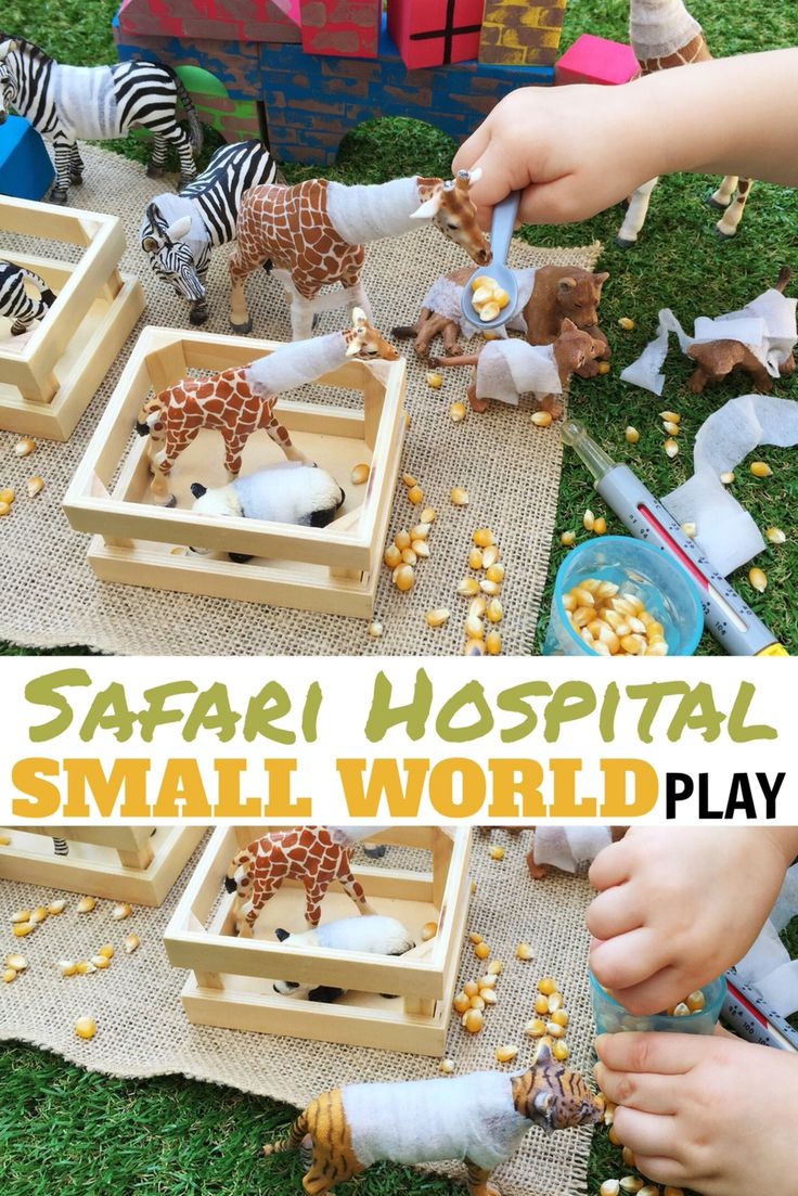 Safari Animal Hospital SMALL WORLD PLAY with wet wipe bandages | A language boosting imaginative play activity for toddlers & preschoolers! Great for social skills too! | www.acraftyliving.com