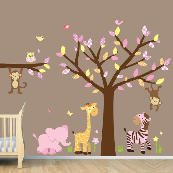 Girl Jungle Wall Decal Nursery Wall Decals by NurseryDecalsNMore, $89.99   Tree - 62 Elephant - E11 Zebra - Z1