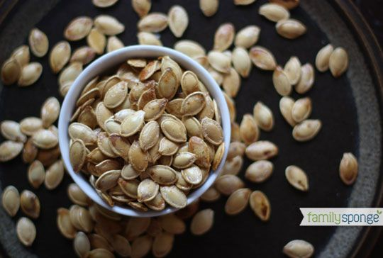 Roasted pumpkin seeds with coconut oil recipe-- yes!