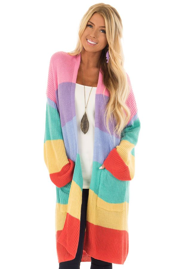 eb6f62c36 Rainbow Striped Loose Knit Open Front Cardigan
