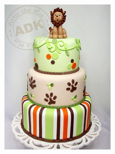 Orange, Brown and Green Stripes, Dots, Vines & Paw Prints on Safari Cake with Lion Topper
