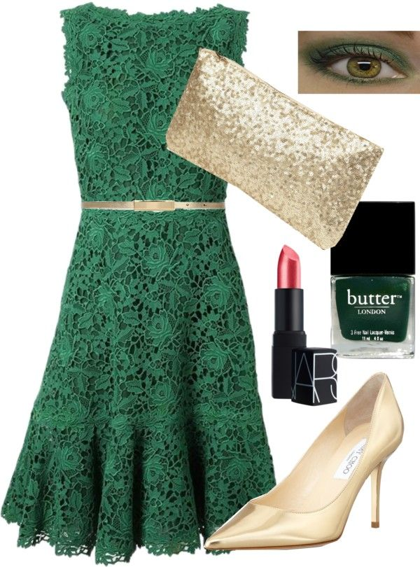 Green Lace Dress With Gold Belt The Usf Look