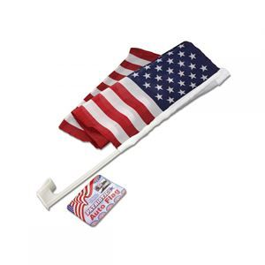 "PATRIOTIC AUTO FLAG - free shipping! Nylon flag measures 19"" x 11 1/4"". The sturdy plastic window mount is 17 1/2"" long. Colors: white,blue,red Package - 24"