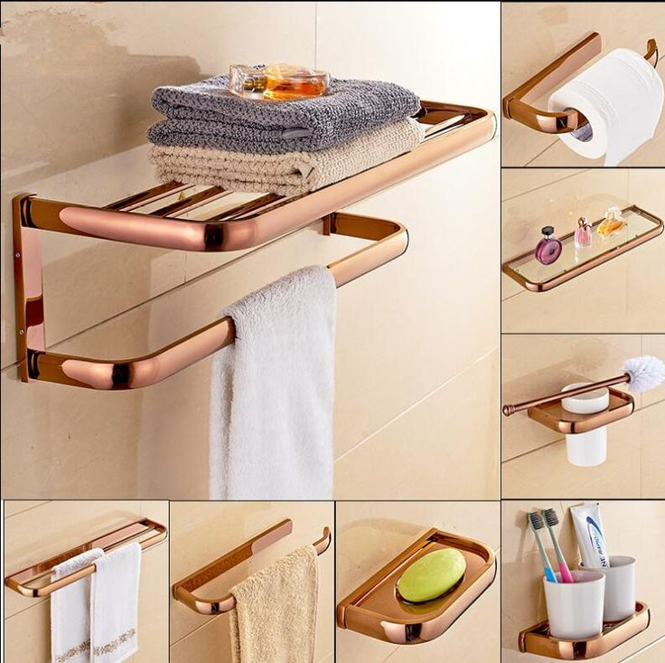 Brass Bathroom Accessories Set, Rose Gold Square Robe hook,Paper Holder,Towel Bar,Soap basket,Towel Rack bathroom Hardware set. Yesterday's price: US $21.59 (17.85 EUR). Today's price: US $21.59 (17.85 EUR). Discount: 41%.
