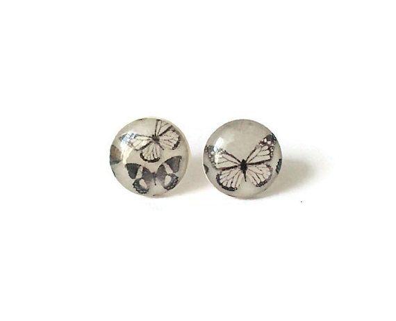 Butterfly stud earrings tiny stud earrings by treasurecreator, $12.00
