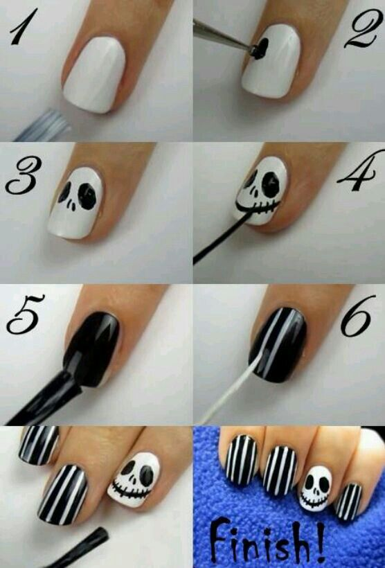 Jack Skellington nails. Perfect for Halloween.