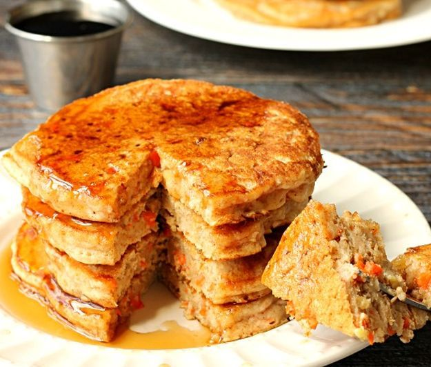 Carrot Cake Pancakes | 14 Dreamy Carrot Cake Recipes | Healthy And Delicious DIY Desserts, Definitely Worth A Try : http://homemaderecipes.com/14-carrot-cake-recipes/