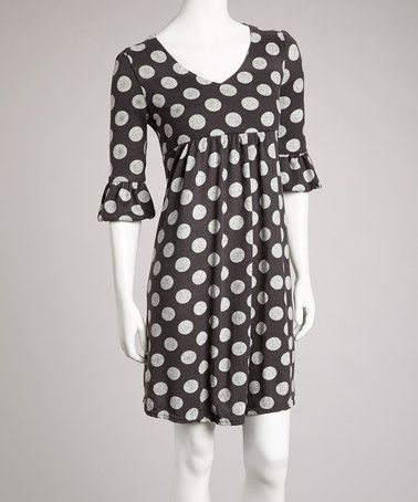Take a look at this Gray Polka Dot Three-Quarter Sleeve Dress by Ice Silk on #zulily today!